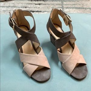 Clark's suede strappy wedges sandals, size 9